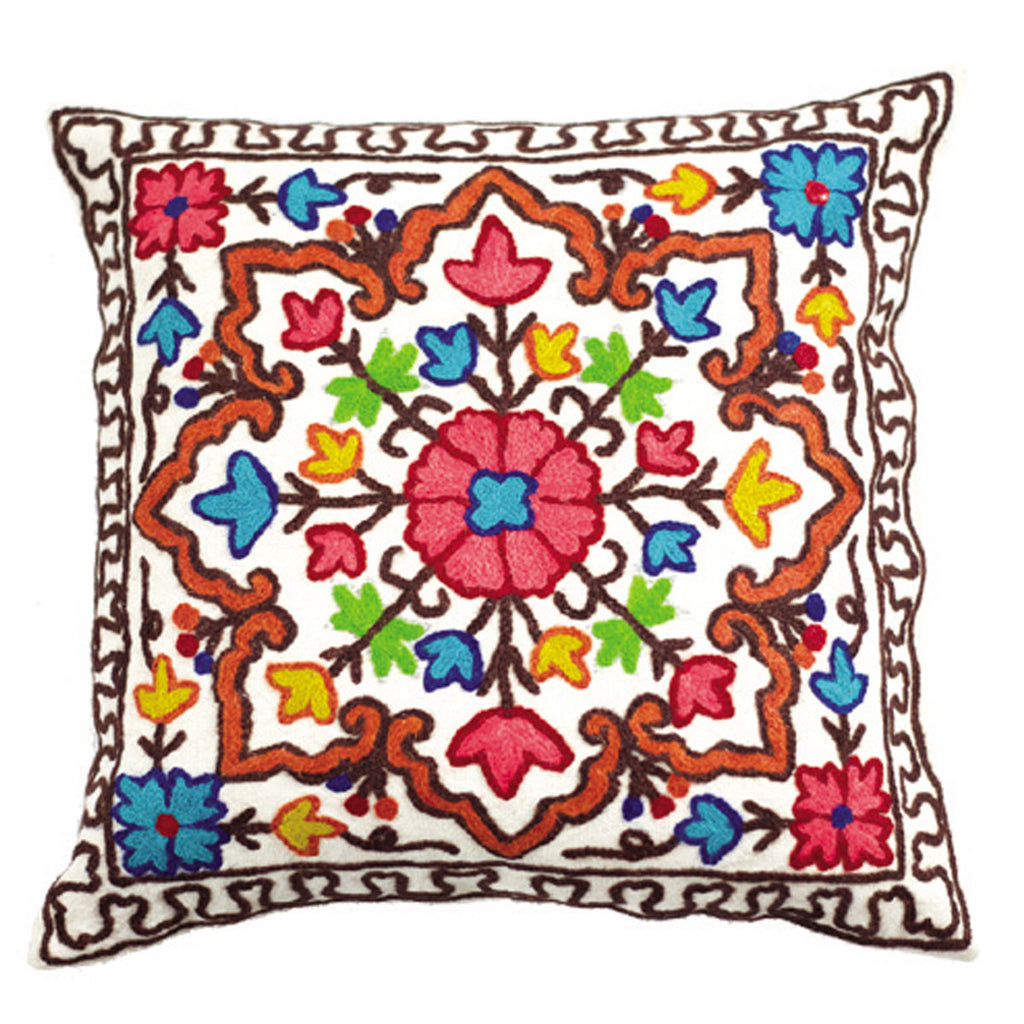 Dhaani Multicolored Kashmiri Embroidery Cushion Cover (Set of 2)