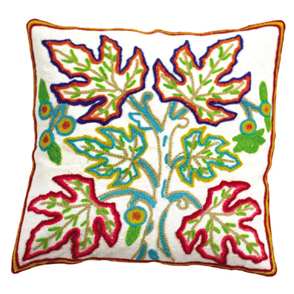 Dhaani Chinar Leaves Pattern Cushion Cover (Set of 2)