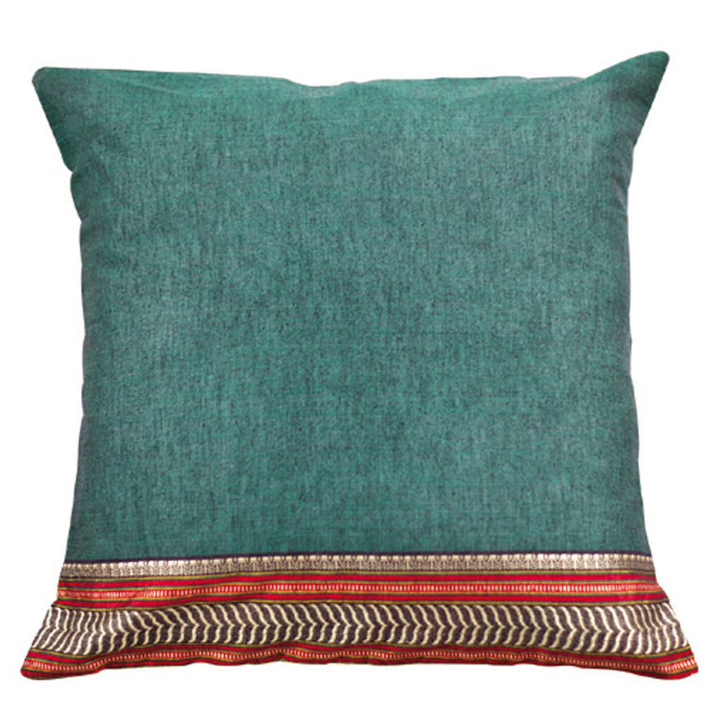 Dhaani Grey Dusk Zari Cushion Cover (Set of 2)