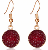 Wine Color Druzy Earring with Golden