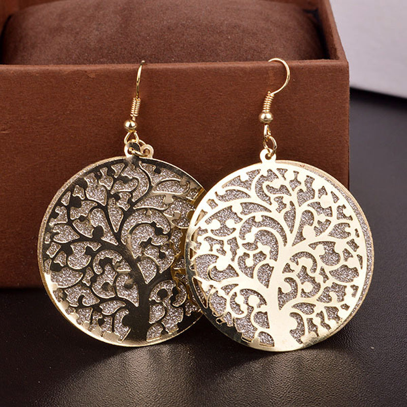 Golden Double Layer Tree of Life Earrings