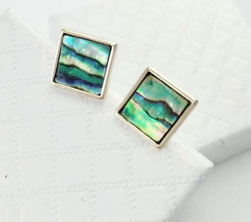 Square Green Mother of Pearl Stud Earrings