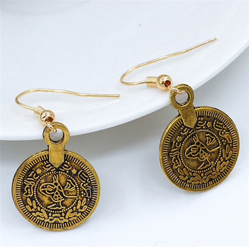 Golden Antique Coin Dangle Earrings