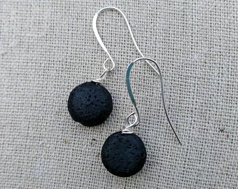 Big Lava Bead Drop Earrings