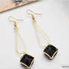 Black Big Stone Golden Dangler