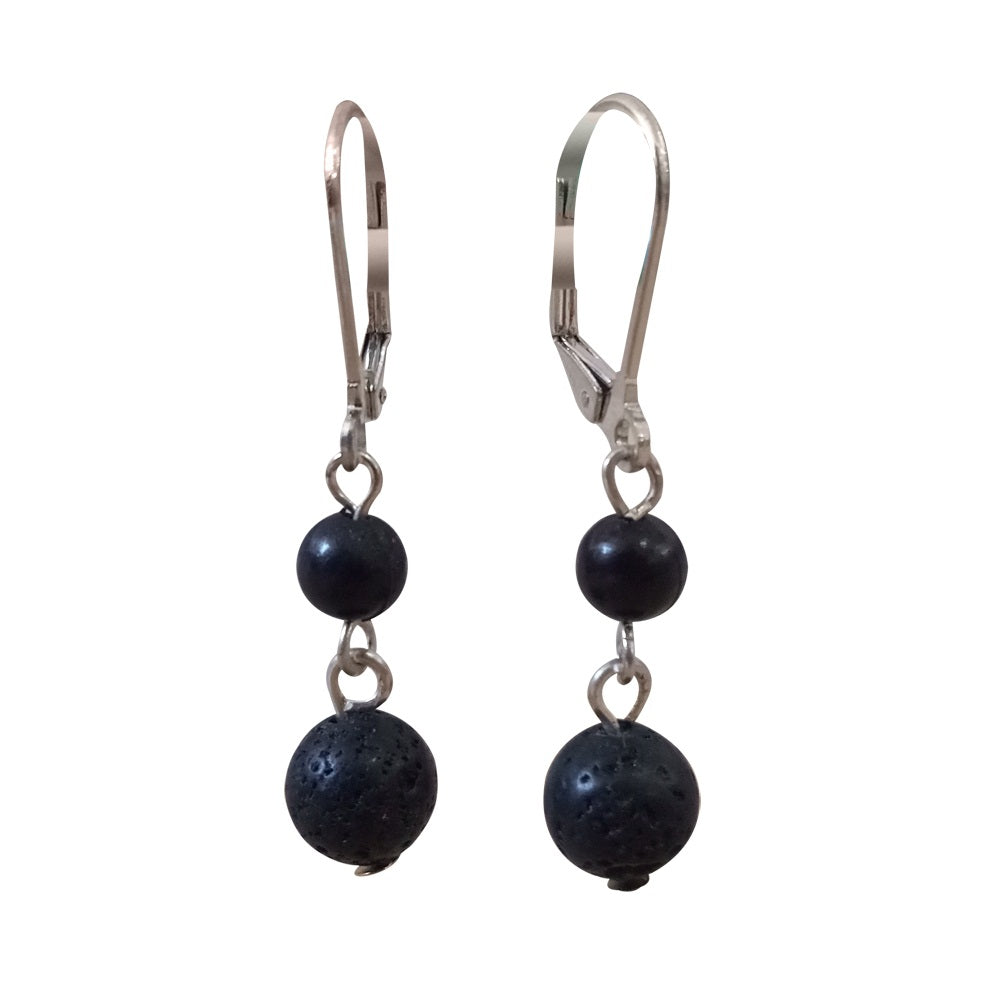 Small Lava Bead Drop Earrings