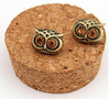 Brown Owl Eyes Stud Earrings