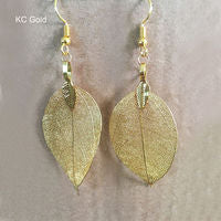 Golden Natural Leaf Dangle Earrings