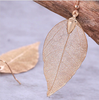 Rose Gold Natural Leaf Dangle Earrings