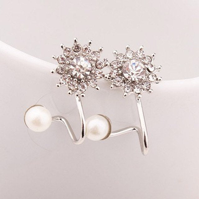 Pearl and Stone Studded Double Earrings