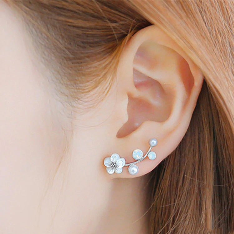 Silver White Small Flower Earrings