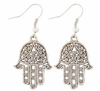 Peace hand Chic Style White Metal Earrings