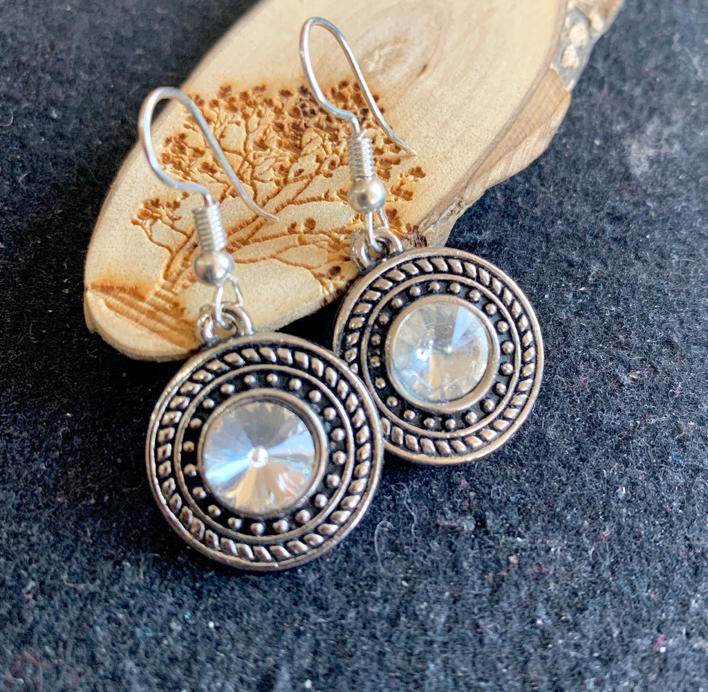 Oval Antique Silver Stone Drop Earrings