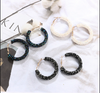 Black and Grey Crystal Hoop Earrings