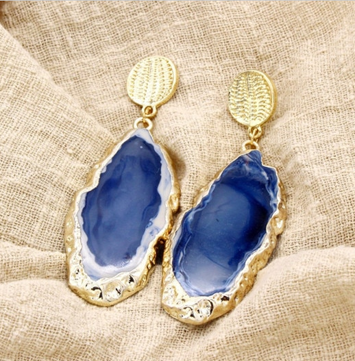 Blue Stone Big Long Drop Earrings