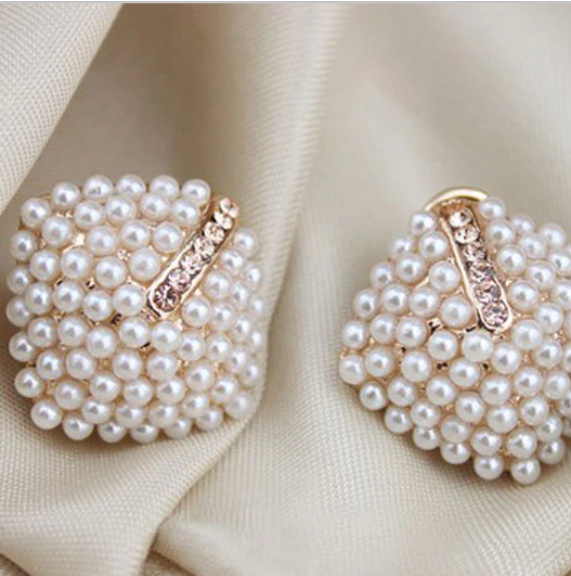 Crystal Rhinestone Pearl Stud Earrings for Women