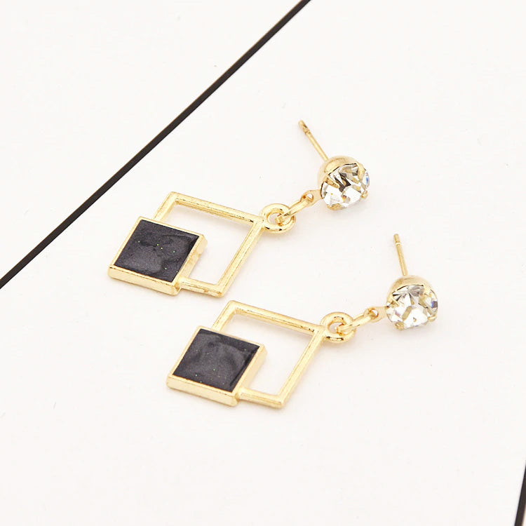 Black And White Long Statement Drop Earrings For Women Crystal