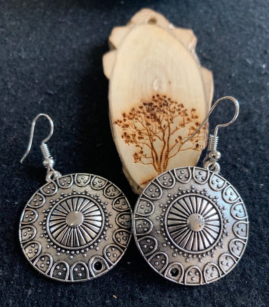Antique Finish Dangle Earrings
