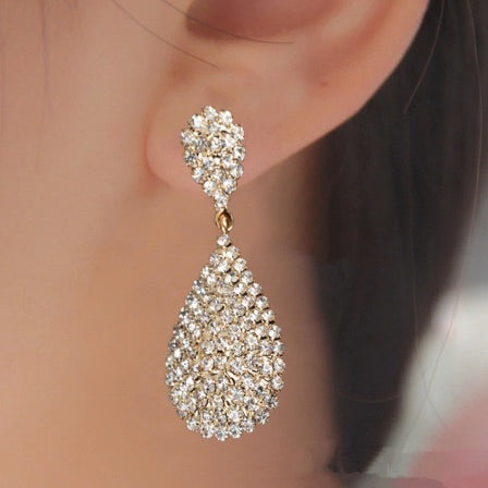 Gold Long Drop Austrian Crystal Drop Earrings