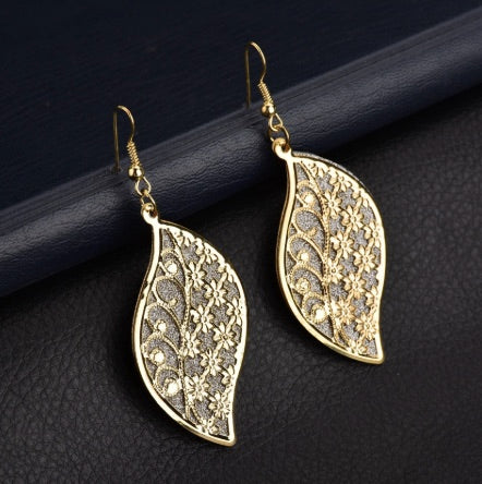 Gold Color Long Big Leaves Hollow Flower Dangle Earrings