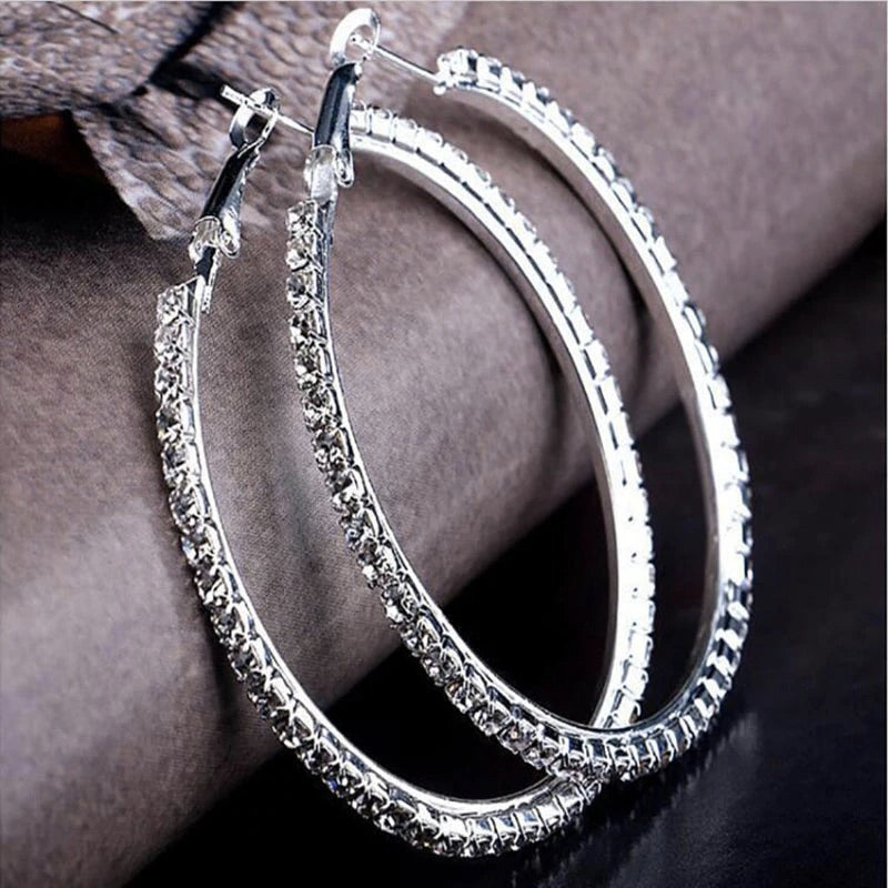 Silver with Crystals Hoop Earrings