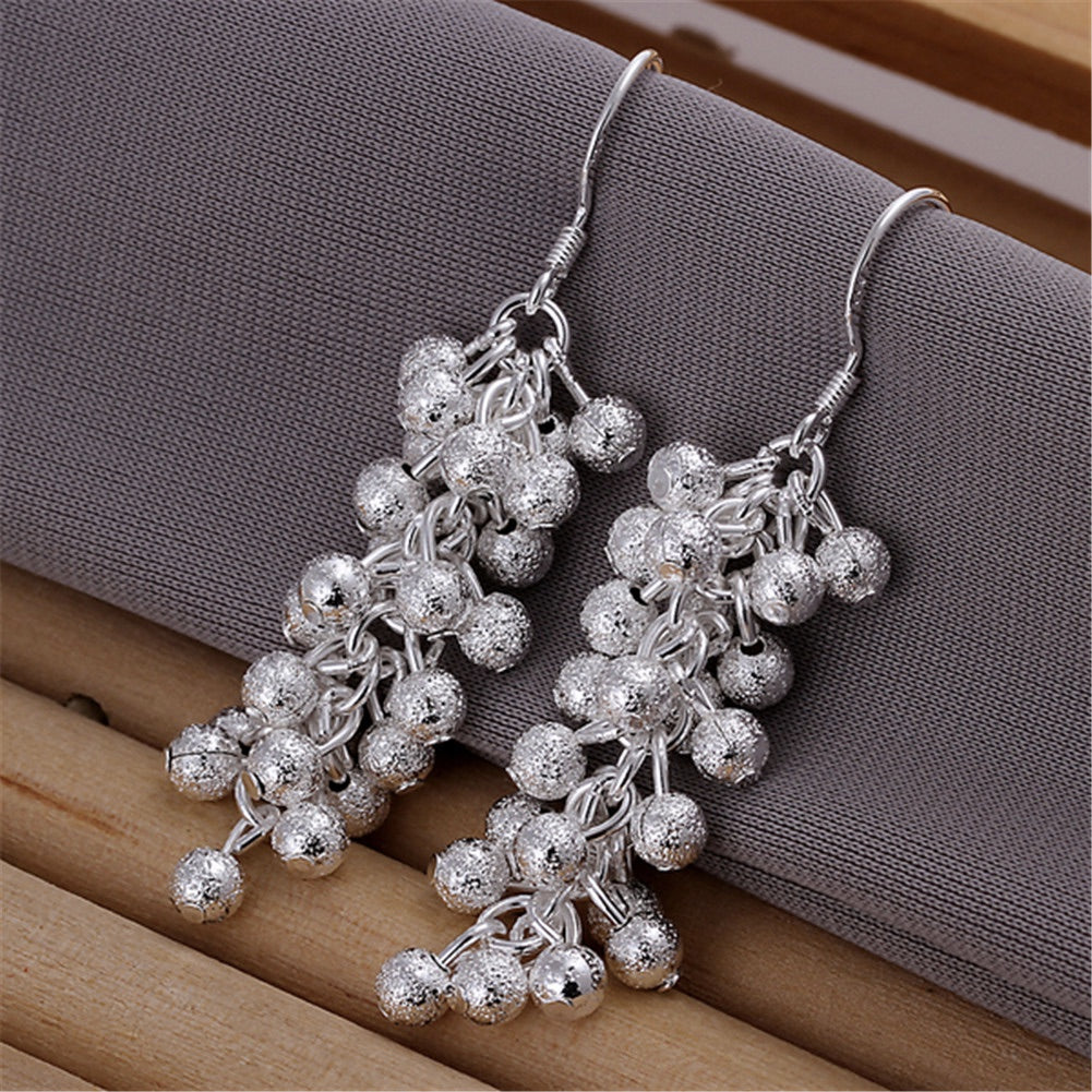 925 Silver Plated Popcorn Beads Dangles Earrings