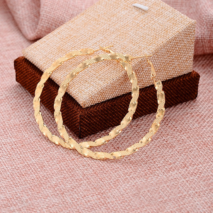 Golden Braided Hoop Earrings