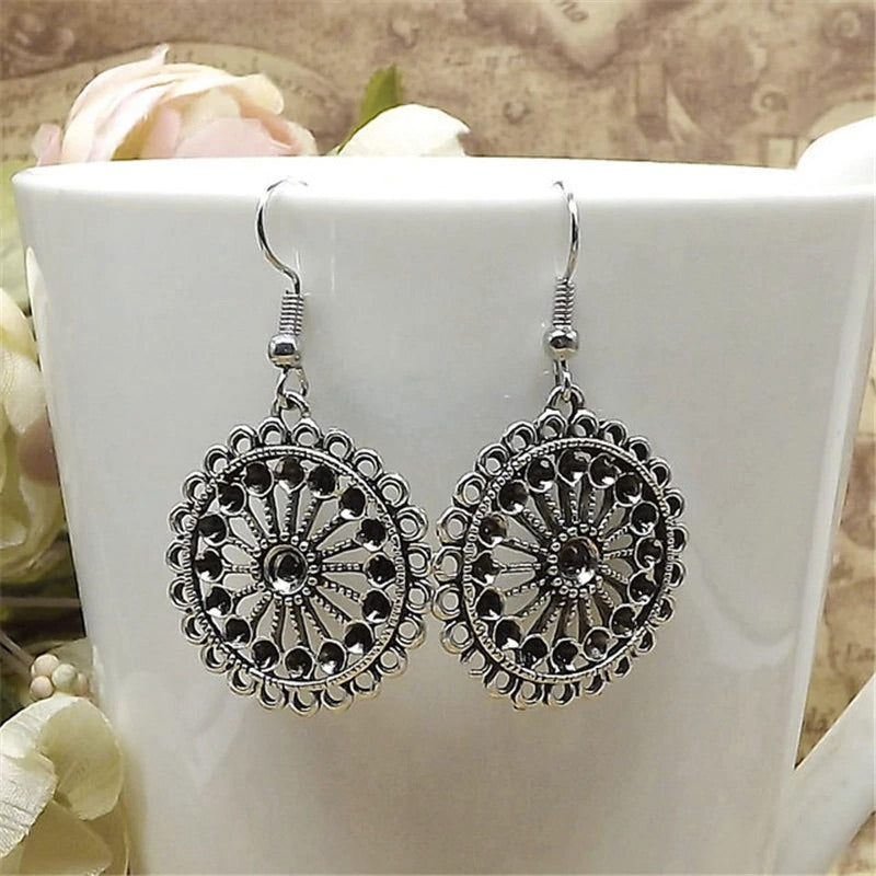 Vintage Antique Hollow Flower Tibetan Silver Drop Earrings