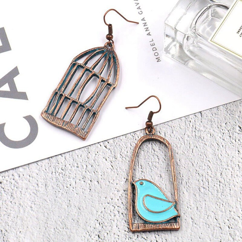 Bird and Cage Dangle Earrings