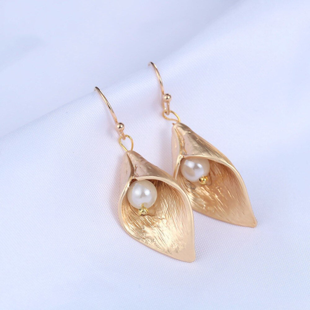 Golden Bud with Pearl Earrings