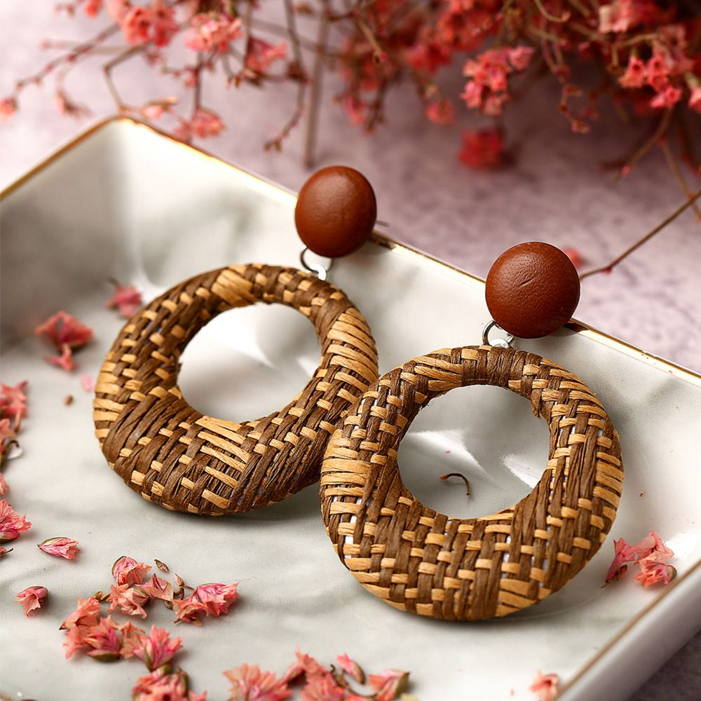 Brown button Cane Earrings