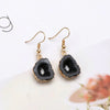 Black Druzy with hole Golden Earrings