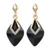 Black Rhombus Crystal Inlay Luxury Earrings