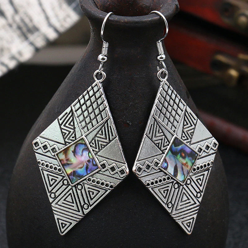 Geometric Texture Drop Earrings