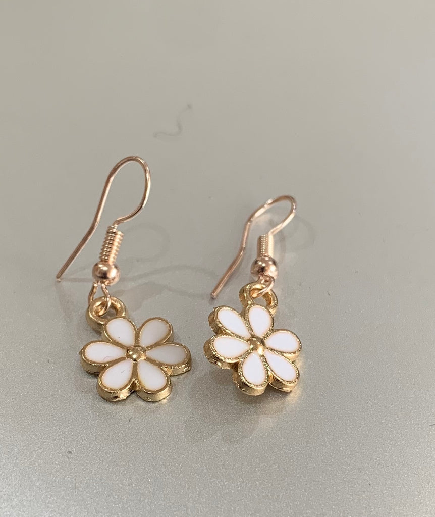 Gold Tone Enamel White Flower Charm