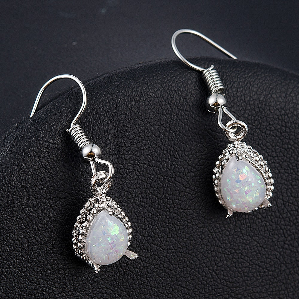 WHITE FIRE OPAL DROP