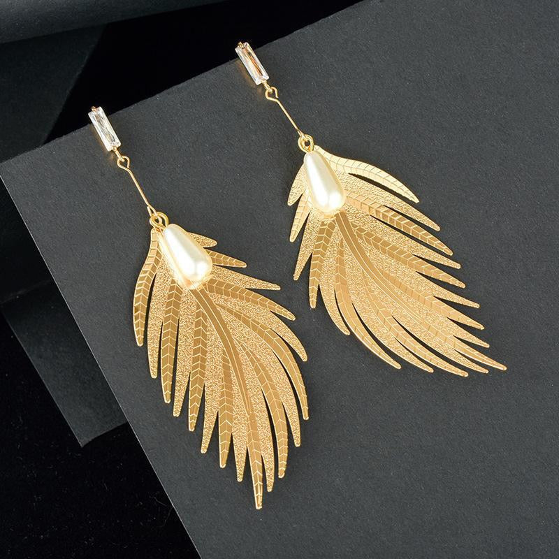 Golden Feather Drop with Pearl & Crystal