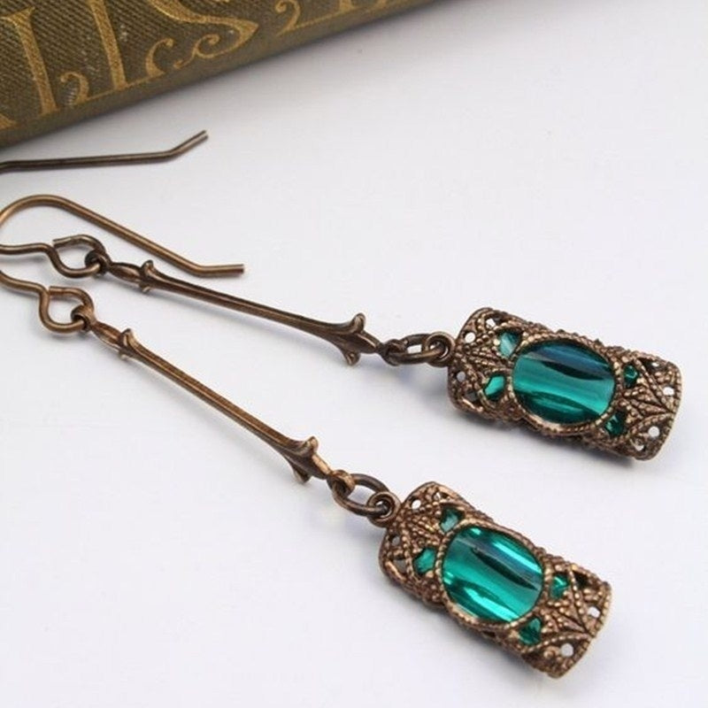 Antique Inlay Light Green Rhinestone
