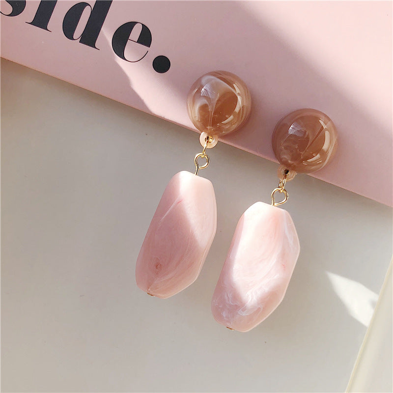 Nude Pink Square Drop Earrings