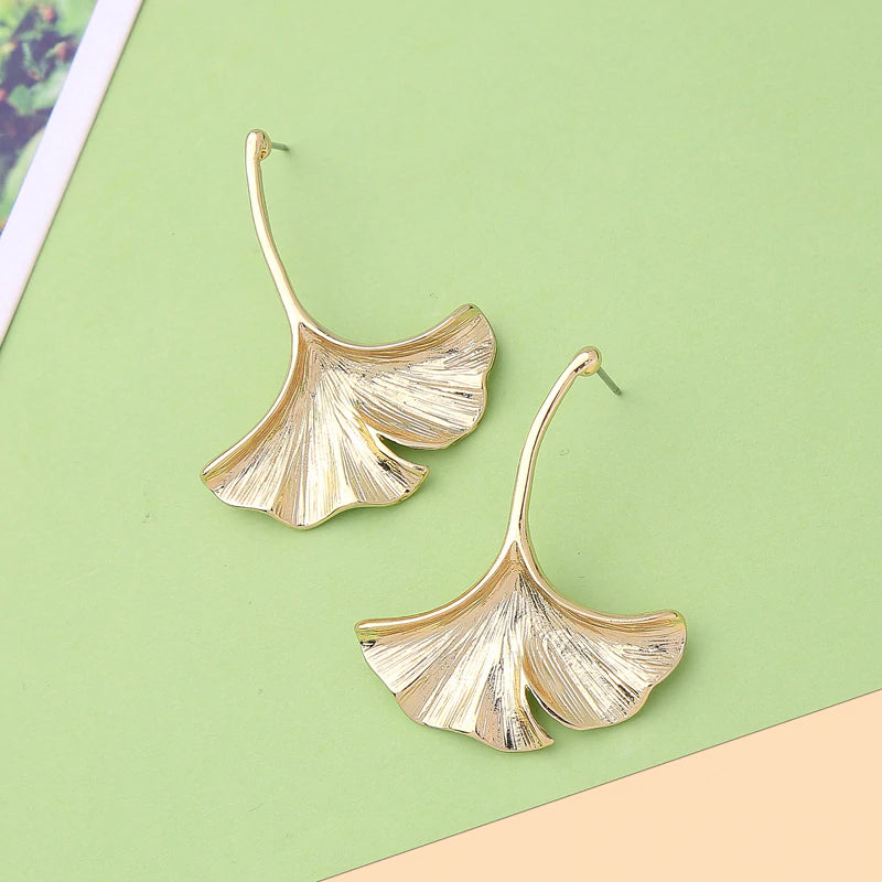 Classic Gold Color Leaf Drop Earrings