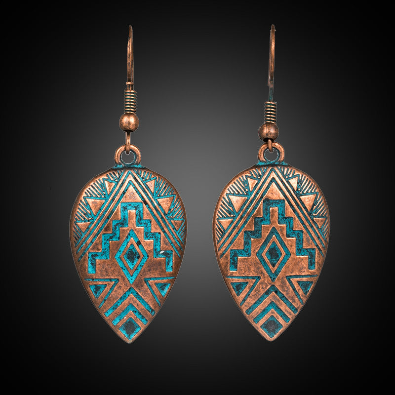 Bohemian Vintage Water Drop Carving Dangle