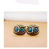 Blue Owl Eyes Stud Earrings