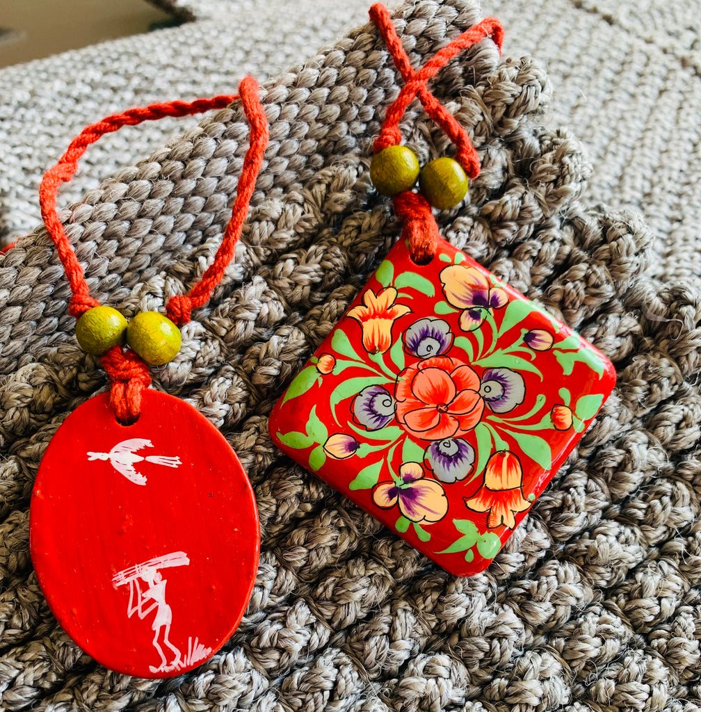 Paper Mache Pendants with Warli Art in Multi Colored Cotton Thread