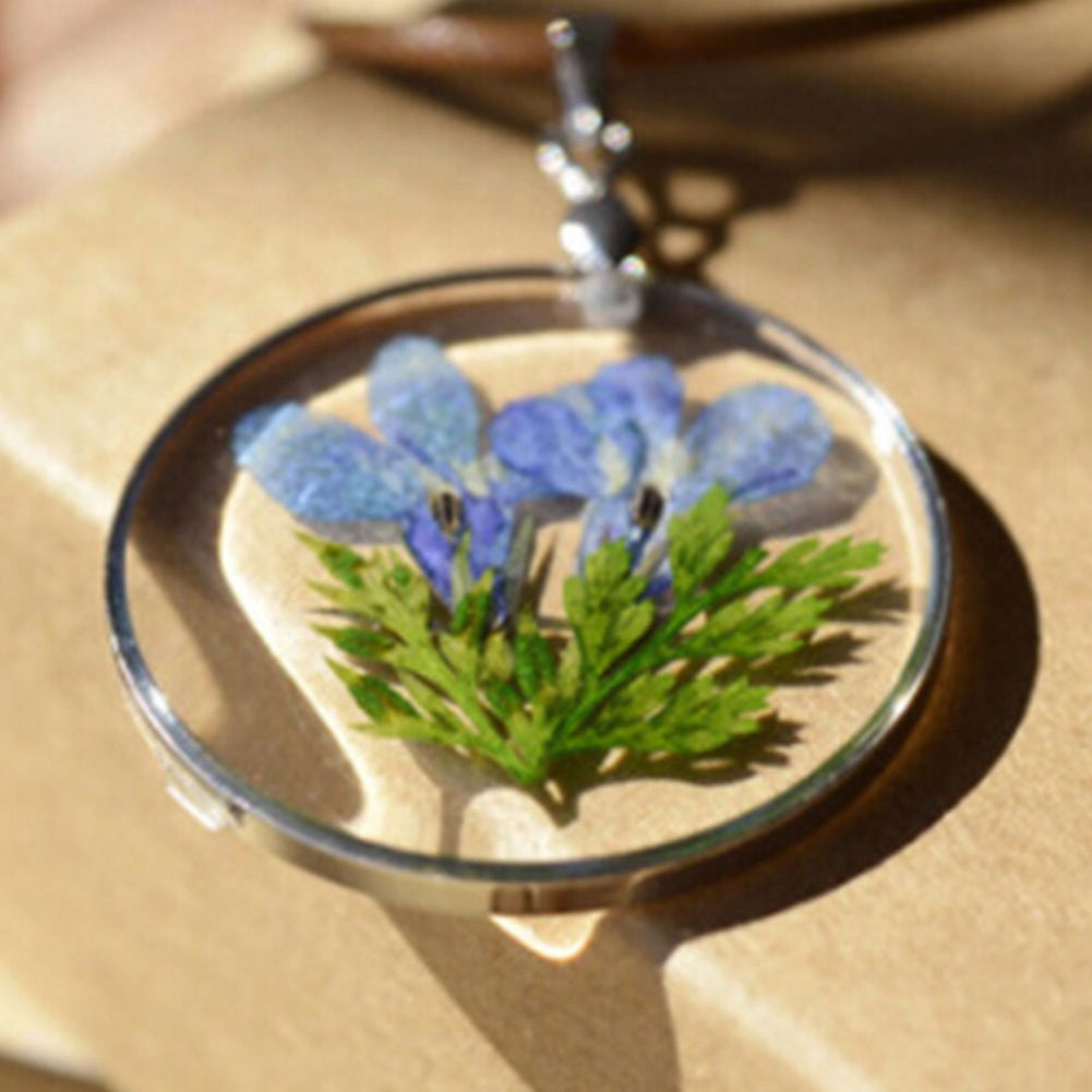 Real Blue Wild Flower Glass Pendant