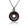 RESIN WOOD NECKLACE WITH GREEN BEAD