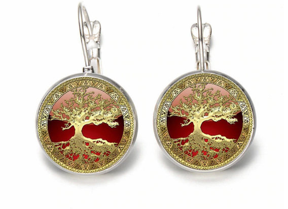 Tree of Life Earring - Red and Golden