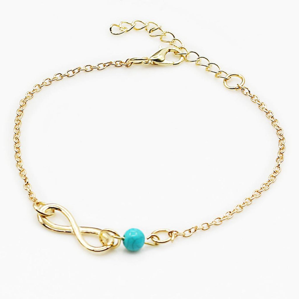 Anklet with Infinite Loop and Turquoise Bead
