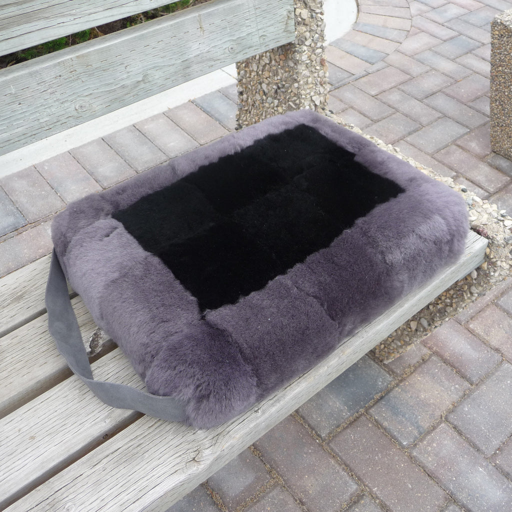 Sheepskin Sport Cushion. Made in Canada by Egli's Sheep Farm