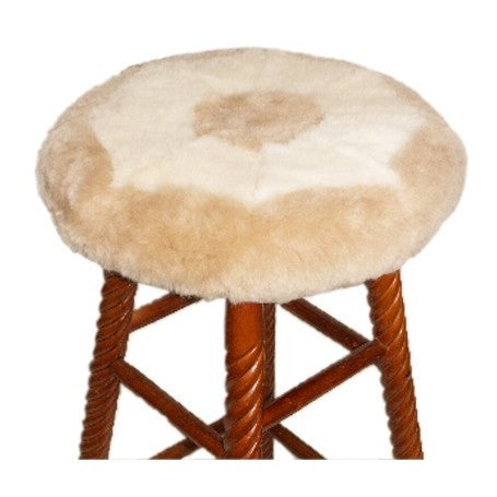 Sheepskin Stool Seat Cover.  Made in Canada by Egli's Sheep Farm