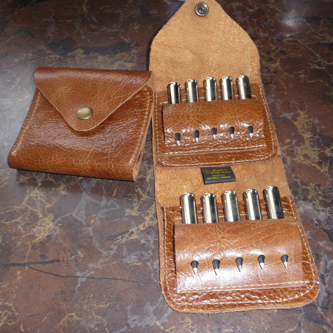 Leather Gunshell caring case. Made in Canada by Egli`s Sheep Farm
